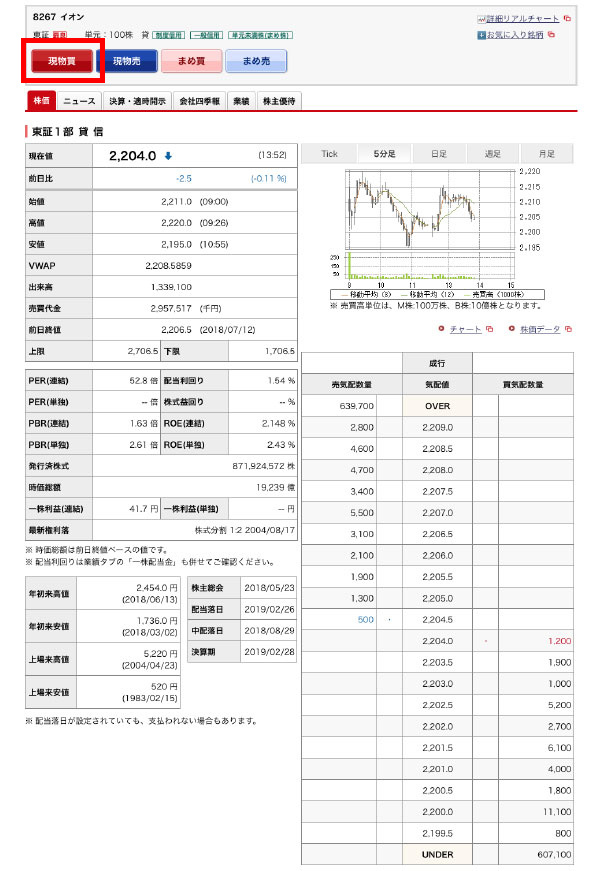 野村證券の株の銘柄詳細画面