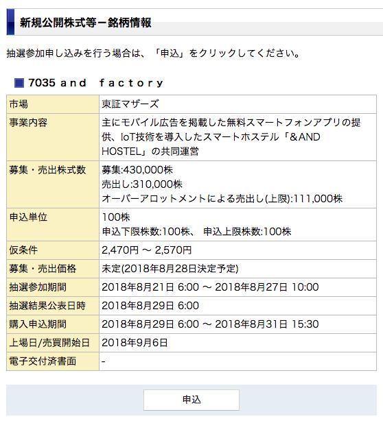 みずほ証券のIPO銘柄の情報画面