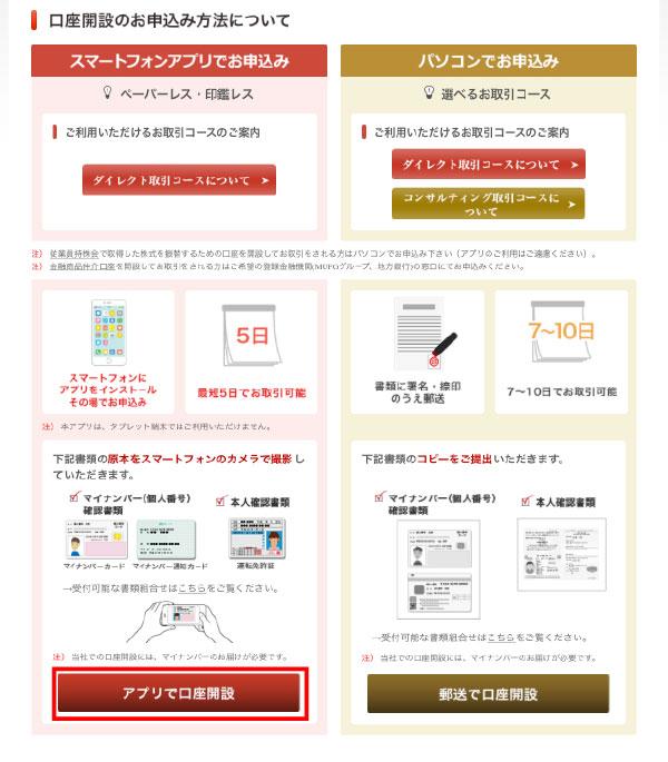 三菱UFJモルガン・スタンレー証券の口座開設の申込み方法の案内画面